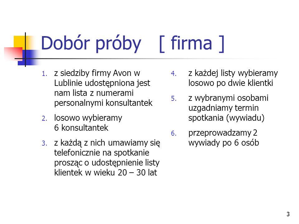 Dobór próby [ firma ] z siedziby firmy Avon w Lublinie udostępniona jest nam lista z numerami personalnymi konsultantek.
